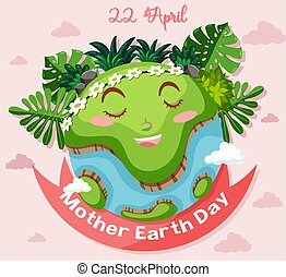 Poster design for mother earth day with happy face on earth