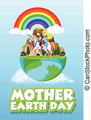 Poster design for mother earth day with prince and princess riding horse