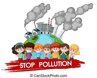 Poster design for stop pollution with children wearing mask