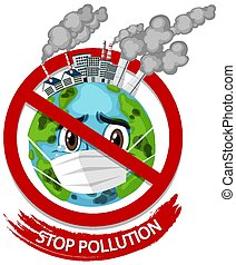 Poster design for stop pollution with earth wearing mask