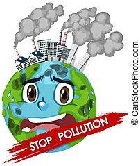 Poster design for stop pollution with world crying