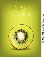 3d  vector realistic illustration kiwi.