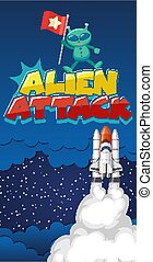 Poster design with alien and spaceship in dark space background