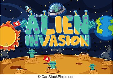 Poster design with aliens in the space background