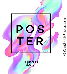 Poster design with colored fluid. Vector illustration