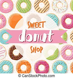 Poster design with colorful glossy tasty donuts for a donut...