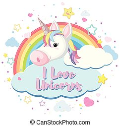 Poster design with colorful rainbow and unicorn