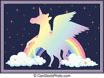Poster design with colorful unicorn and rainbow