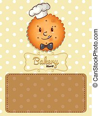 Poster design with cookie and brown background