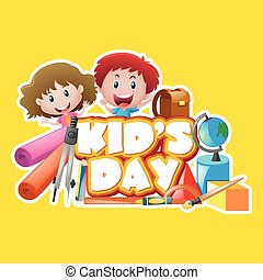Poster design with kid's day