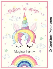 Poster design with rainbow unicorn