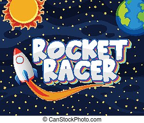Poster design with rocket racer in the dark universe
