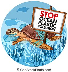 Poster design with sea turtle holding stop plastic pollution