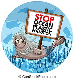 Poster design with seal holding stop plastic pollution