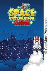 Poster design with spaceship flying in the dark space background