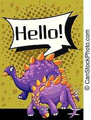 Poster design with two stegosaurus illustration