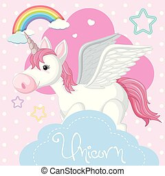 Poster design with unicorn and pink cloud