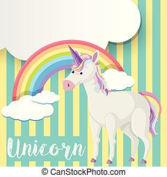 Poster design with unicorn and rainbow