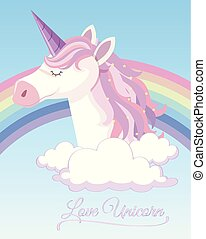 Poster design with unicorn and rainbow in sky