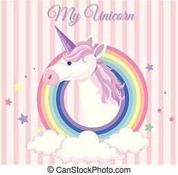 Poster design with unicorn and round rainbow