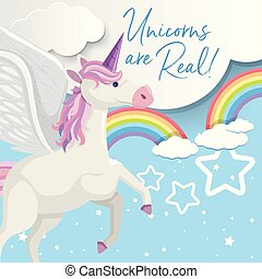 Poster design with unicorn flying in sky