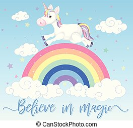 Poster design with unicorn running on the rainbow
