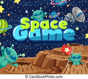 Poster design with word space game and aliens in the space