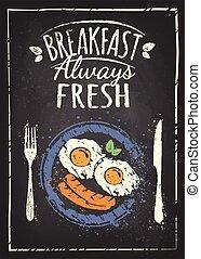 poster, eitjes, vergaard, achtergrond, platen, witte , gebraden