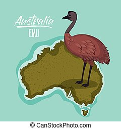 poster emu in australia map in green surrounded by the ocean...