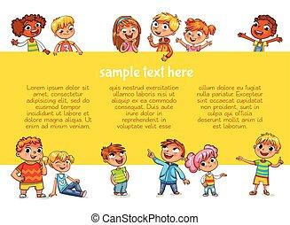 poster., enfants, tenue, prêt, message, ton, heureux