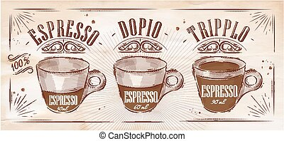 Poster coffee espresso in vintage style drawing on kraft