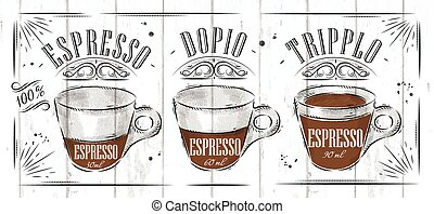 Poster espresso - Poster coffee espresso in vintage style...