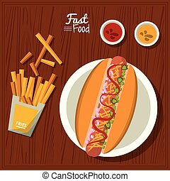 poster fast food in kitchen table background with dish of hotdog and sauces and fries
