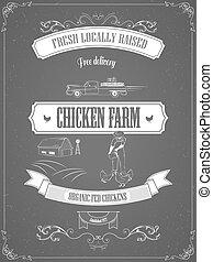poster., fazenda, vindima, vetorial, anúncio, galinha