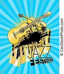 poster., festival, jazz, illustrazione, chitarra, vettore, violino, pianoforte