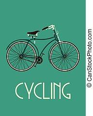 poster, fiets, retro