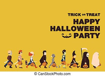 Poster, Flat banner or background for Halloween Party...