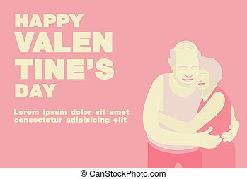 Poster, Flat banner or background for Happy Valentine's Senior Couple Theme - Vector flat design