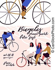 Poster, flyer or invitation template for bicycle parade, race or festival with men and women riding bikes. Colorful vector illustration in cartoon flat style for event announcement, advertisement.