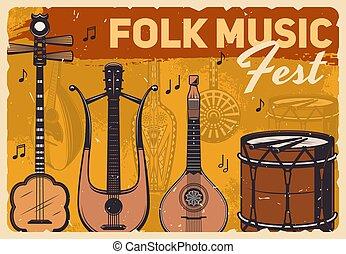 poster, folk-music, ouderwetse , muziek instrumenten, fest