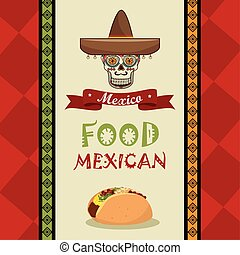 poster food and skull mexican design
