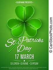 Poster for a Happy Saint Patrick's Day party. Green clover with pattern. Light green background. Invitation to the club, bar. Vector illustration