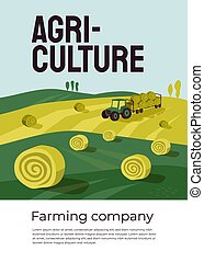 Poster for agriculture or farming company with tractor on hayfield
