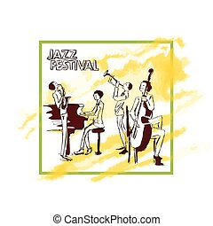 Poster for jazz concert. Jazz band plays on the background of abstract yellow watercolor stain. Vector illustration, isolated on white background.