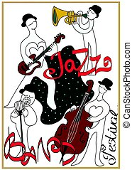 Poster for jazz music festival or concert. Jazz band.