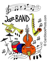 Poster for jazz music festival or concert. Jazz musical instruments