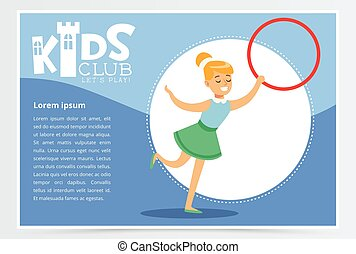 Poster for kids club with cute teen girl with hula-hoop,...