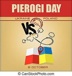 Poster for Pierogi Day - National cuisine of Ukraine and Poland, leader in dumplings