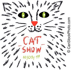 Poster for the cats show or vet advertisiment - vector...