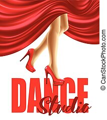 Poster for the dance studio with female legs in red shoes and skirt billowing. Vector illustration